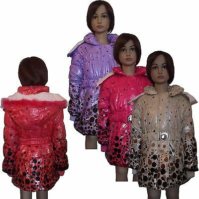 New Girls WARM Winter Jacket Padded Belted Coat Puffa Wet Look Long 2-12yrs #43