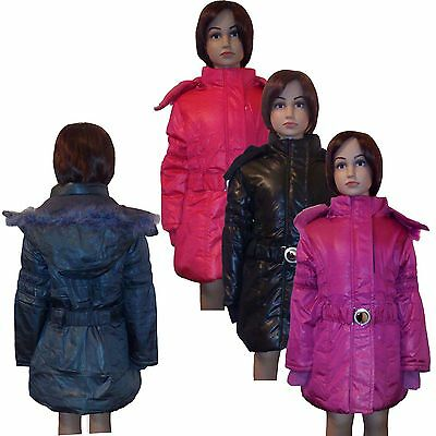 New Girls WARM Winter Jacket Padded Belted Long Coat Faux Fur Hood 3-14ys #44