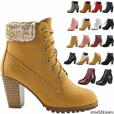 New Women Fashion Suede Padded Collar Ankle Work Boots Lace Up Chunky Heel Shoes