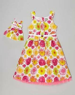 NWT Dollie & Me 8 10 Matching Floral Dress Fits American Girl 18 Inch