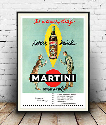 Martini :  Vintage Alcohol poster reproduction.