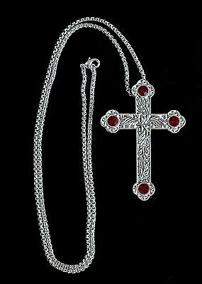"""NEW Silver Plated BISHOPS PECTORAL CROSS, Ruby Red Crystal Stone, 36"""" Chain"""
