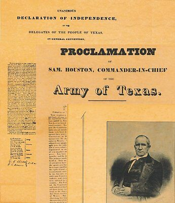 3 posters TEXAS DECLARATION OF INDEPENDENCE, Sam Houston Proclamation & Portrait