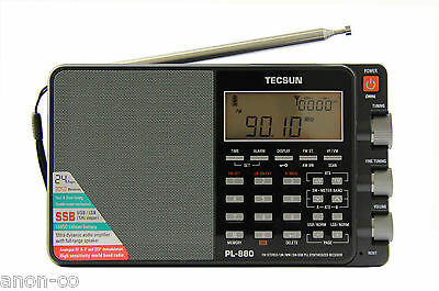 TECSUN PL-880 PLL Multi Conversion AM/FM/LW/SW SSB Radio << BLACK - MATTE >>