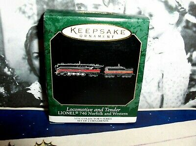Locomotive/Tender`Miniature-Lionel 746 Norfolk-Series,2 New Hallmark Ornaments