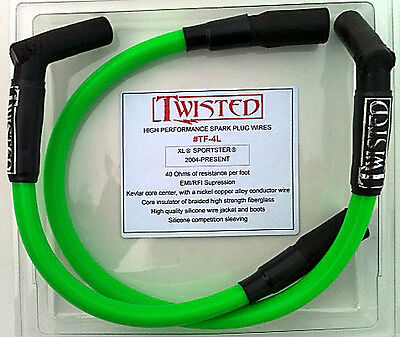 TWISTED 12mm SPARK PLUG WIRES HARLEY SPORTSTER XL XLH NIGHTSTER IRON LOW 04-14