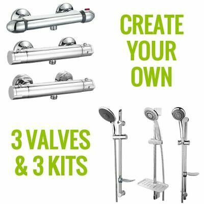 Exposed Chrome Thermostatic Bar Shower Mixer Valve | with/without Shower Kit