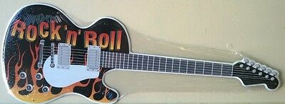 ROCK AND ROLL GUITAR  SHAPED METAL SIGN MUSIC