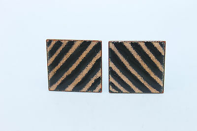 STUNNING Vintage SIGNED Modernist ENAMEL on COPPER Abstract Cufflinks VERY LARGE