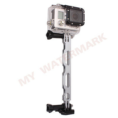 Silver Aluminium Extension Arm Helmet Pole Mount for Gopro HD Hero 4 3+ 3 2 1
