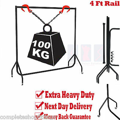 SUPER HEAVY DUTY CLOTHES RAIL 4ft Long x 5ft High Metal Garment Hanging Rack NEW
