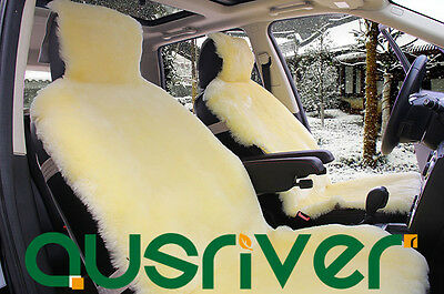 Beige Premium Quality Australian Sheep Skin Car Short Wool Front Seat Cover
