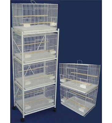Lot of 6 Aviary Breeding Flight/Bird/Guinea Pig Cages 24x16x16 with Stand, White