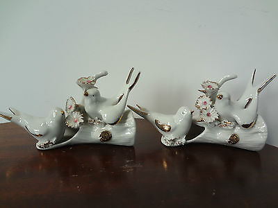 Capodimonte Porcelain Figurines Italy Vintage Pair Gold Accent Birds Tree RARE!