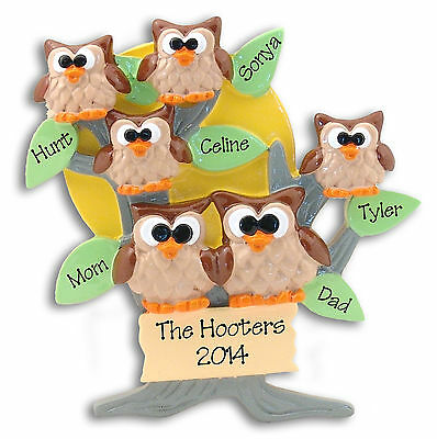 OWL FAMILY OF 6 Personalized CHRISTMAS Ornament - Hand painted RESIN Deb & Co.