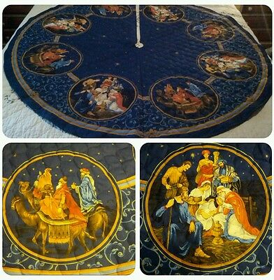 """Large Nativity Christmas Tree Skirt  New 55"""" Quilted"""