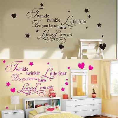 Twinkle Little Star Removable Decal Cartoon Bedroom Decor Home Art Wall Stickers