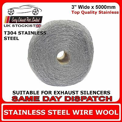"""5m x 3"""" Wire Wool Wrap For Exhaust Silencers Stainless Steel T304 - High Grade"""