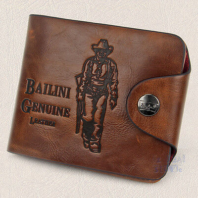 Mens Genuine Leather cowhide Wallet Brown Business Credit Card Holder Stylish AU