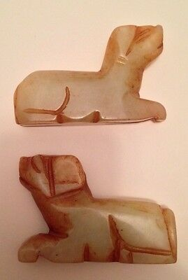 Pair of Chinese Hardstone Dog Statues/figures - Antique/vintage