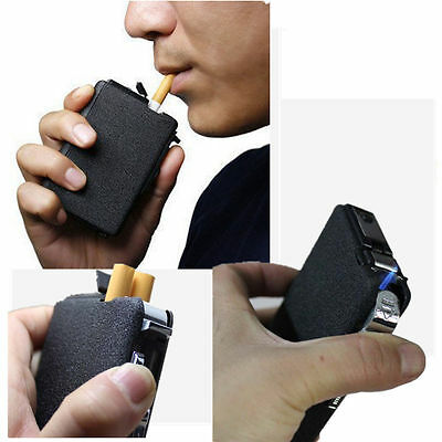 Black Automatic Ejection Butane Cigarette Lighter Case Box Holder Windproof
