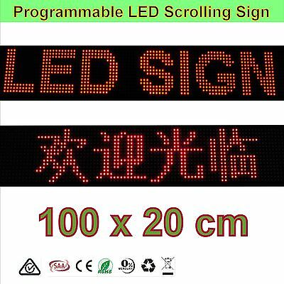 LED Sign - Semi-outdoor Programmable 100 x20cm LED Signs Scrolling Display board