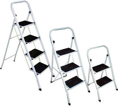 2/3/4 Steps Mixed Metal Ladder Non-Slip Grip Tread Loft Home Safety