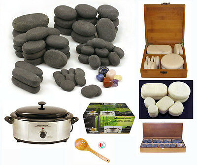 HOT STONE MASSAGE KIT: 78 Basalt/Chakra & Marble Stones + 6.5 Quart Heater