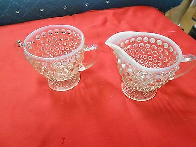 Great Collectible MOONSTONE Hobnail Opalescent SUGAR and CREAMER....SALE