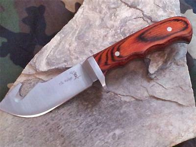 "Elk Ridge Guthook Skinner Stainless Wood Full Tang Fixed Blade Knife 8""  524"