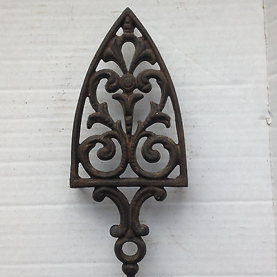"""Vintage Cast Iron Trivet Cathedral 1 1/4"""" Legs Wall Hanging Decorative Hot Plate"""