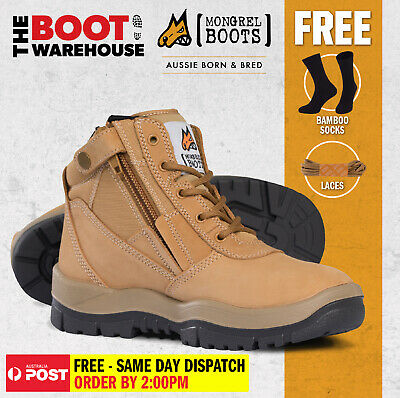 Mongrel Work Boots 961050, Wheat, Soft Toe, Non Safety, Nubuck, Zip Sider. NEW!