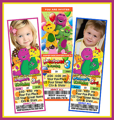 barney the dinosaur BIRTHDAY  PARTY TICKET INVITATIONS personalized photo