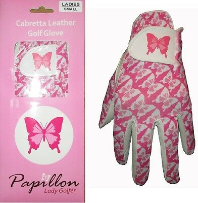 Ladies Cabretta Leather Golf Glove 4 Sizes Butterfly Logo Small Medium Large