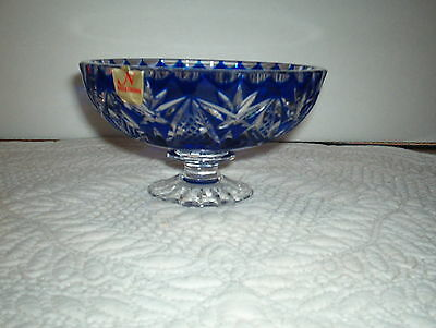 VTG. NACHTMANN** RARE BLUE** CUT TO CLEAR CRYSTAL FOOTED BOWL GERMANY