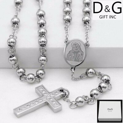 "DG Stainless Steel 26"" Beaded Rosary VIRGIN MARY,CROSS CZ Pendant Necklace + BOX"
