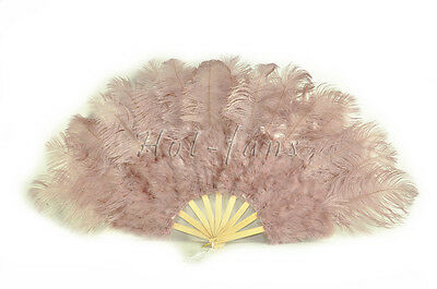 "21""x 39"" Beige Wood marabou ostrich feather fan burlesque dance with gift box"