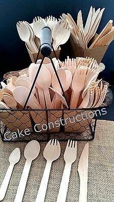 10 25 Wood Eco Forks Tea Spoons Knives Wooden Cocktail Disposable Party Catering