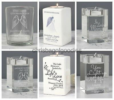 PERSONALISED Tealight Holder Memorial Bereavement REMEMBRANCE Keepsake for Gifts