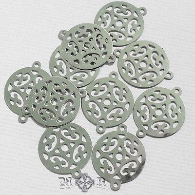 20 x Flat Round Stainless Steel Filigree Connector Links 15mm Diameter