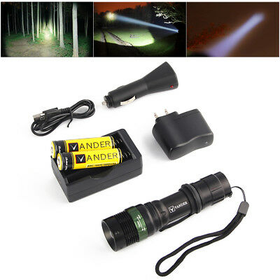 UltraFire CREE XML-T6 2000 Lumens Zoomable LED Flashlight Torch+Battery&Charger