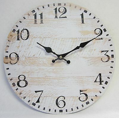 34cm Rustic French Provincial Country Antiqued White Washed Clock Large Numbers
