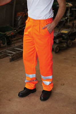 Brand New Orange Hi Vis Polycotton Work Trousers