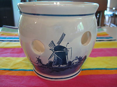 DELFT ware bulb forcing pot w/holes blue white windmill house boat water Holland