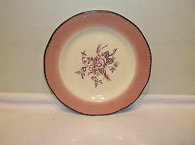 A Very Nice Wood& Sons Colonial Rose Pink Rimmed Salad Plate
