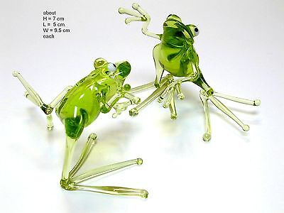 Funny Frog Dancing - Hand Made Art Glass Reptile figurines