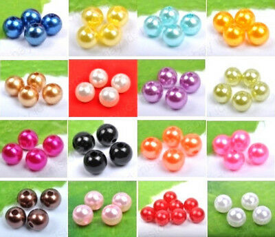 4mm 6mm 8mm 10mm ABS resin imitation pearl round beads (16colors available)