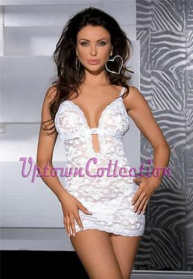 Ladies Valentine White Babydoll Chemise & G String Panties Bridal Lingerie Dress