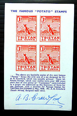 TRISTAN DA CUNHA The Famous Potato Stamp 1d Essay Signed by AB Crawford FP123