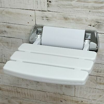 Folding Shower Seat EcoSpa | Wall Mounted in White | Bathroom Mobility Aid NEW